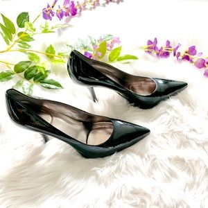 Calvin Klein Patent Leather Pointed Toe Pump Black